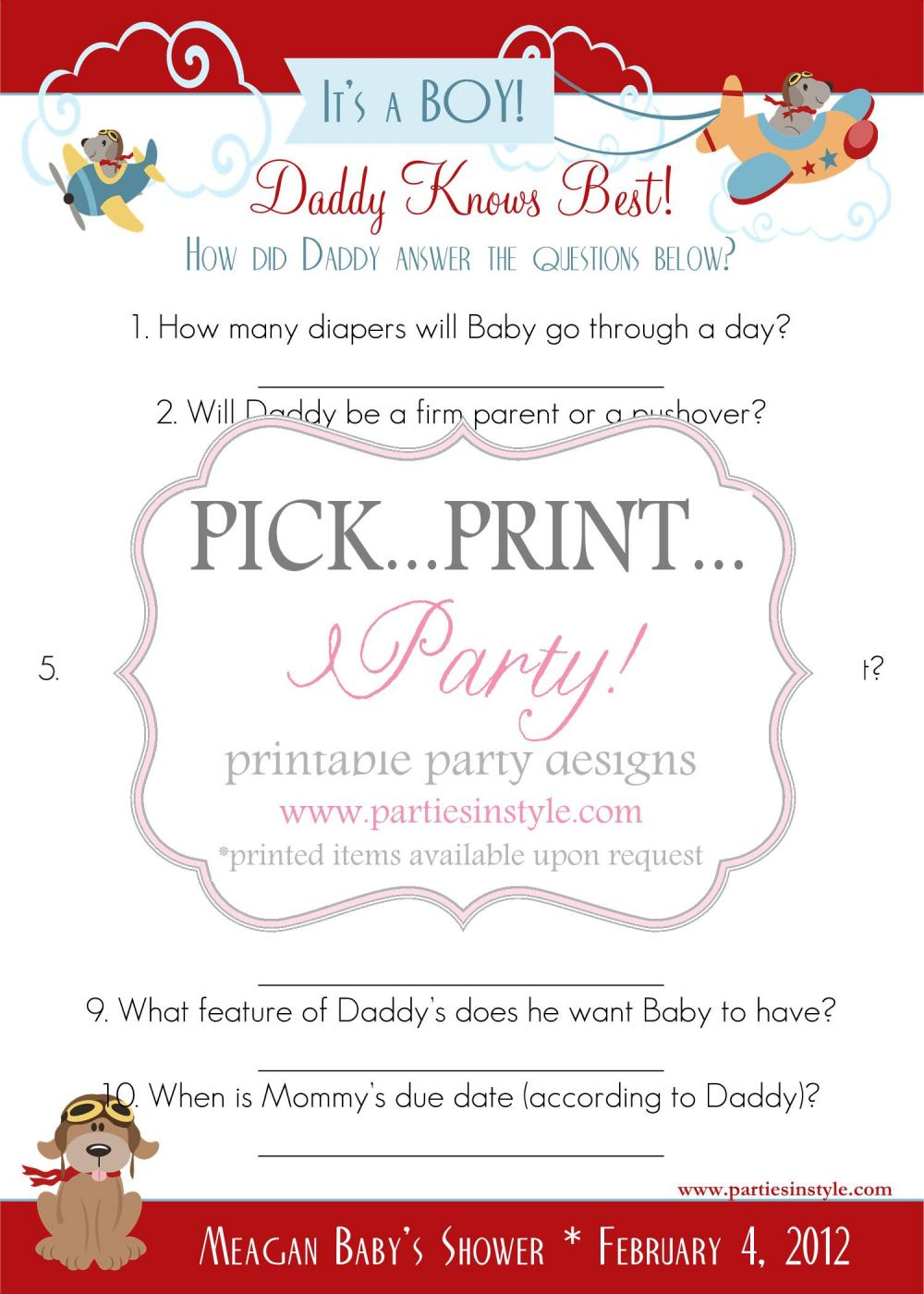 baby shower game daddy knows best printable diy 11 reviews baby shower