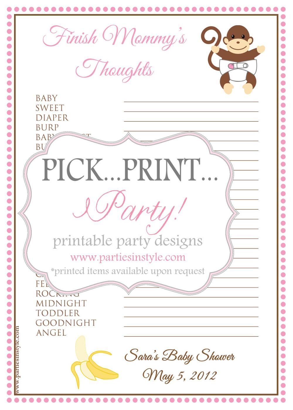 baby shower game finish mommy s thoughts printable diy 2 reviews baby