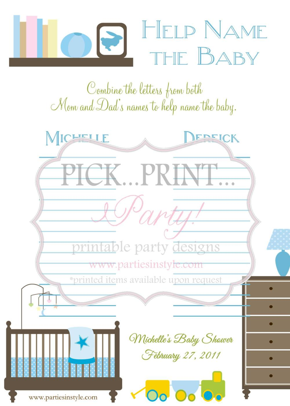 baby shower game help name the baby printable diy baby shower game