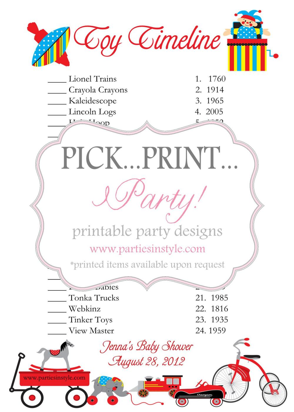 baby shower game toy timeline printable diy on luulla