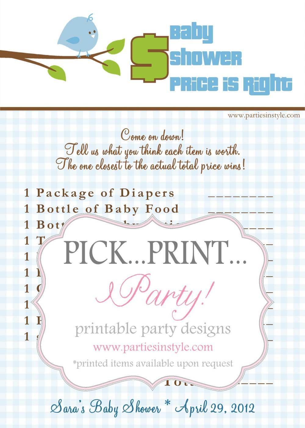 baby shower game price is right printable diy the original on