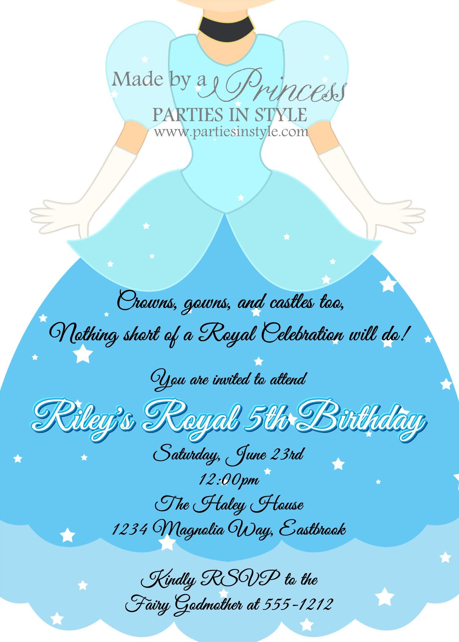 Cinderella Party Invites with adorable invitations example